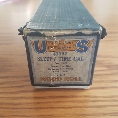 VTG United States Player Piano Word Music Roll 43267 Sleepy Time Gal