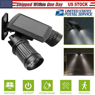 Adjustable 14 LED Solar Powered Motion Sensor Dual Head Lights Spotlight Outdoor