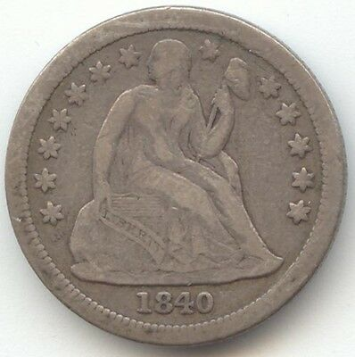 1840 Seated Liberty Dime, With Drapery, Nice Fine or Better