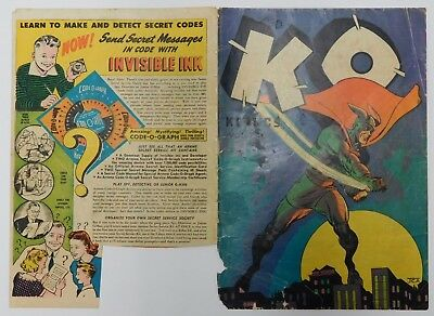 KO KOMICS #1 / VOL 1 COVER ONLY - Scarce Kirby Art 1945 Vintage Comic Cover