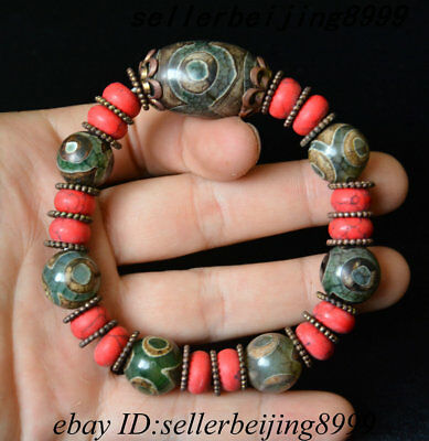 "Tibetan Buddhism dZi Bead Old Agate "" 3 Eye "" Prayer Amulet Chain Bracelet"
