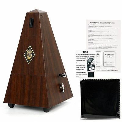 Pyramid style Teak Wooden Color Mechanical Metronome For Musical instruments