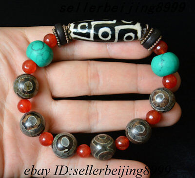 "China Tibetan Old Agate "" 9 Eyes "" dZi Bead Prayer Energy Amulet Bracelet"