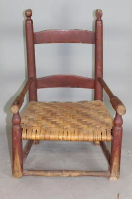 Rare 18Th C William & Mary Child's 2 Slat Armchair In Grungy Old Red Paint