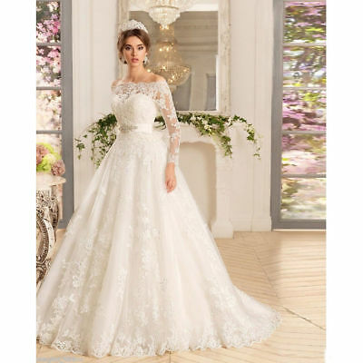 NEW WHITE IVORY LACE Bridal Gown Wedding Dress Custom Size 4-6-8-10 ... 167159a2fa94