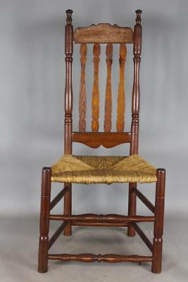 Rare 18Th C William And Mary Deerfield Ma Bannister Back Chair Bold Early Crest