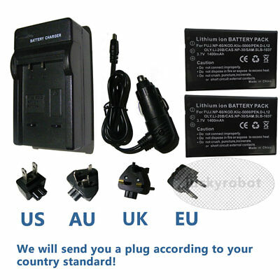 Battery + charger for Fuji NP-60 / Pentax D-L12 Bell & Howell DV30HD Camera