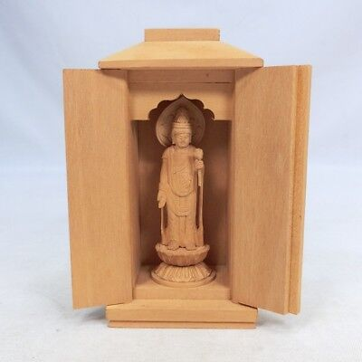 G083: Japanese small bodhisattva statue of wood carving with small shrine ZUSHI