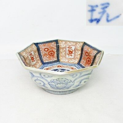 G300: Japanese octagonal bowl of old IMARI colored porcelain with good painting