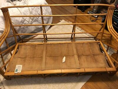 1963 HEYWOOD WAKEFIELD w LABELS RATTAN COUCH BAMBOO VINTAGE LOUNGER MID-CENTURY
