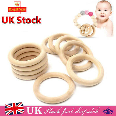 20pcs Unfinished Natural Wooden Teething Rings Curtain Craft 70mm 55mm 45mm