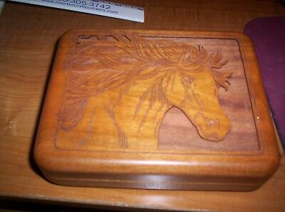 "Horse Wooden Jewelry Box 6 1/2"" X 5"""