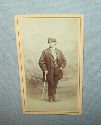 Old antique vtg 1870s CDV Photograph WELL POSED DANDY with skimmer and cane nice