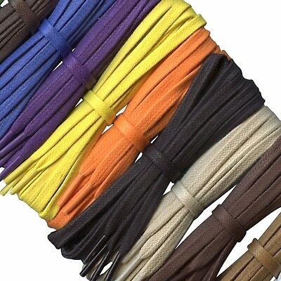 Flat Coloured Waxed Cotton Shoelaces - 6 mm - Lengths from 45 cm - 140 cm