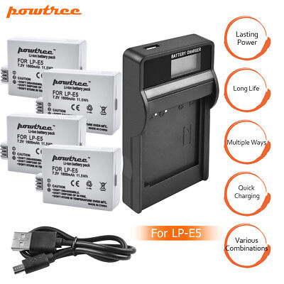 1600mAh LP-E5 Battery or Charger For Canon Rebel Xs Xsi T1i 450D 1000D Kiss F TP