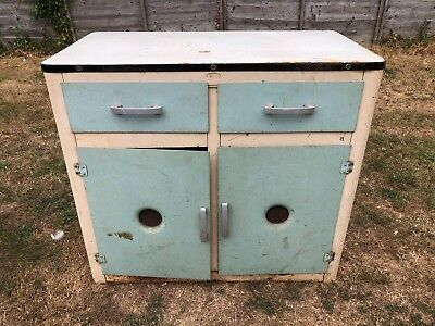 Used Vintage Retro Art Deco Industrial Aluminium & Enamel Cupboard Chest Drawers