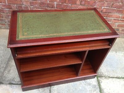 Green Leather Top Mahogany Desk - Office, Computer Desk, Antique Style