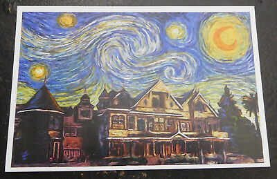 Winchester Mystery House Postcard Starry Night
