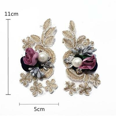 Applique Lace Motif 3D Flower Embroidery Lace DIY Bead For Wedding Dress By Pair