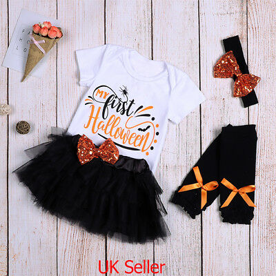 UK Baby Girls My 1st Halloween Romper Tutu Skirt Dress Clothes Outfits 4pcs Set