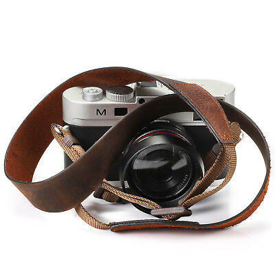 LeaTher Brown 120cm Genuine Leather Camera Neck Strap Universal for Sony, Nikon