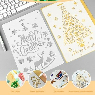 1x Christmas Layering Hollow Stencils Scrapbook Stamps Flower Template Xmas Gift