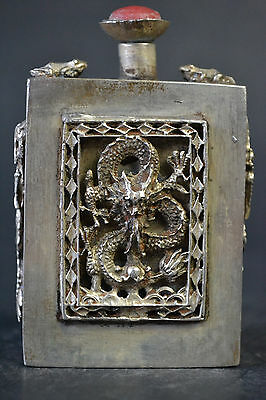 Fine Collectible China Decor Old Tibet Silver Carve Dragon Noble Snuff Bottle