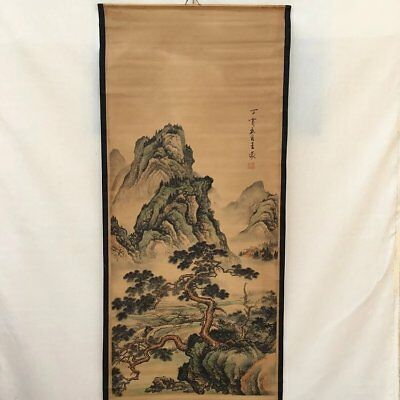 Collectible Old Decorated superb China long Scroll Painting autumn landscape