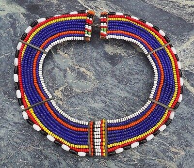 Fine Quality Small Colourful East African Masai Bead Work Tribal Collar Necklace