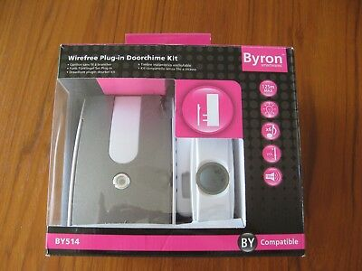 BYRON 125m WIREFREE PLUG IN AND PORTABLE DOOR CHIME KIT BY514
