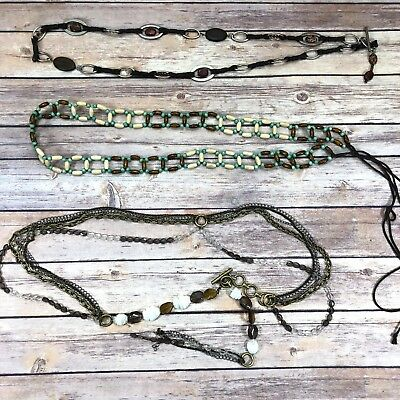 Lot of 3 VTG Boho Belts Rope Tie Wood Plastic Beaded Jeweled Chain Toggle L XL