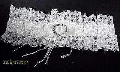 White Satin  with White lace  bridal garter with sparkling heart design