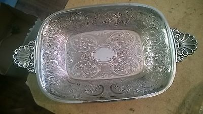 Stunning Silver Plated Dish Silver Plate On Copper 13 Inches Long
