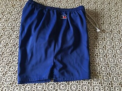 Vintage Men's Russell Athletic Royal Blue Nylon Shorts W/ Brief Medium Usa Made