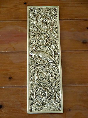 Heavy Cast Brass Finger Door Push Plates Parrot Fingerplate Bird Handles Knobs