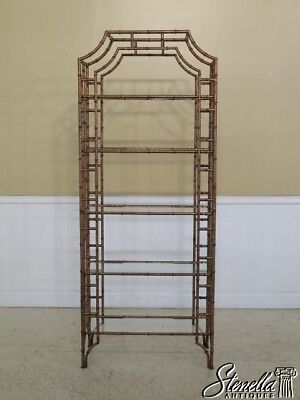 45541EC: Chippendale Faux Tortoise Paint Decorated Tiered Etagere Shelf