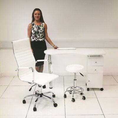 White Manicure Table, Faux Leather High Back Swivel Chair & White Beauty Stool