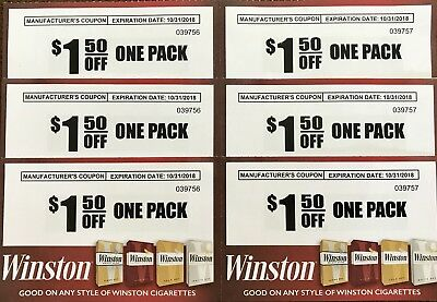 Six (6) Save $1.50 off a Pack of any style Winston Cigarettes - Save 9.00!