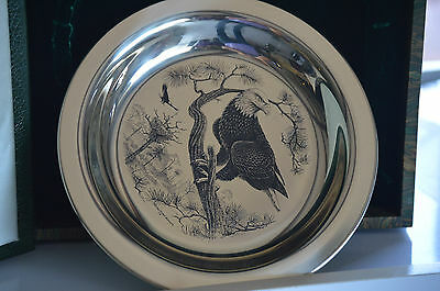 American Bald Eagle Richard Younger Franklin Mint Sterling Silver Plate