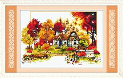 Autumn Story of the Beautiful Rural House @ RS floss-14Ct cross stitch kit