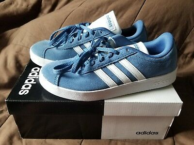 Kids Adidas VL Court 2 Sneakers Shoes Blue Boys Girls Unisex Youth School Sz 3