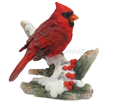 Cardinal Bird Sculpture On Branch Statue Figure - HOME DECOR