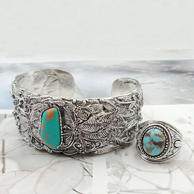 Ethnic Tribal Retro Turquoise Bracelet+Ring Set Silver Plated Bangle Jewelry