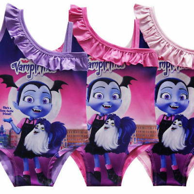 Kids Girl Vampirina One Piece Lace Collar Bath Spa Swimwear Swimsuit 3-9 Years