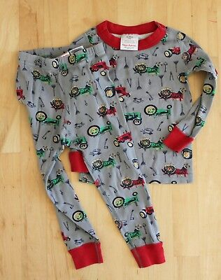 Hanna andersson long johns pajamas tractors size 90 (3T)