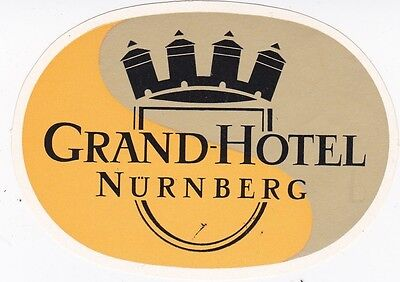 Unused Vintage Luggage Label ~ Grand-Hotel Nurnberg Germany. ca. 1950's