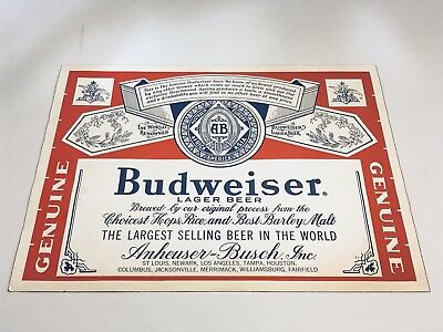 "Vintage 1970's Budweiser Beer Large Sticker Sign Decal 18"" X 14"""