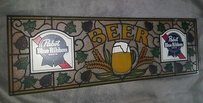 1983 Pabst Blue Ribbon Beer Sign,Stained Glass Look, Plastic, Bar, Pub, Man Cave