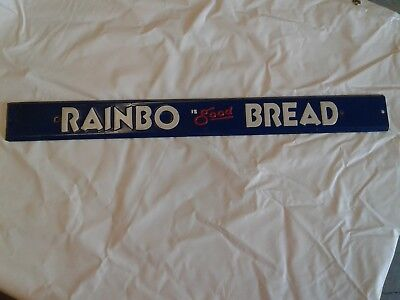Vintage RAINBO BREAD Steel Advertising Sign Store Door Pull Push Handle Bar