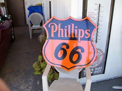 """Phillips 66 Porcelain two sided sign 29"""" x 29"""" abt. 1930s"""
